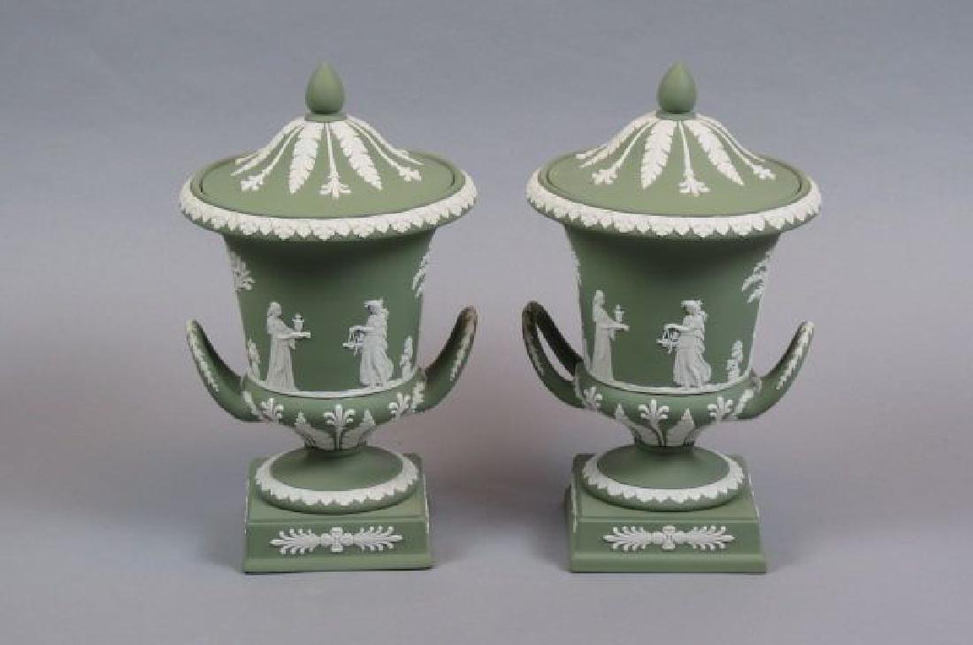Pair of Wedgwood Green Jasperware Urns,