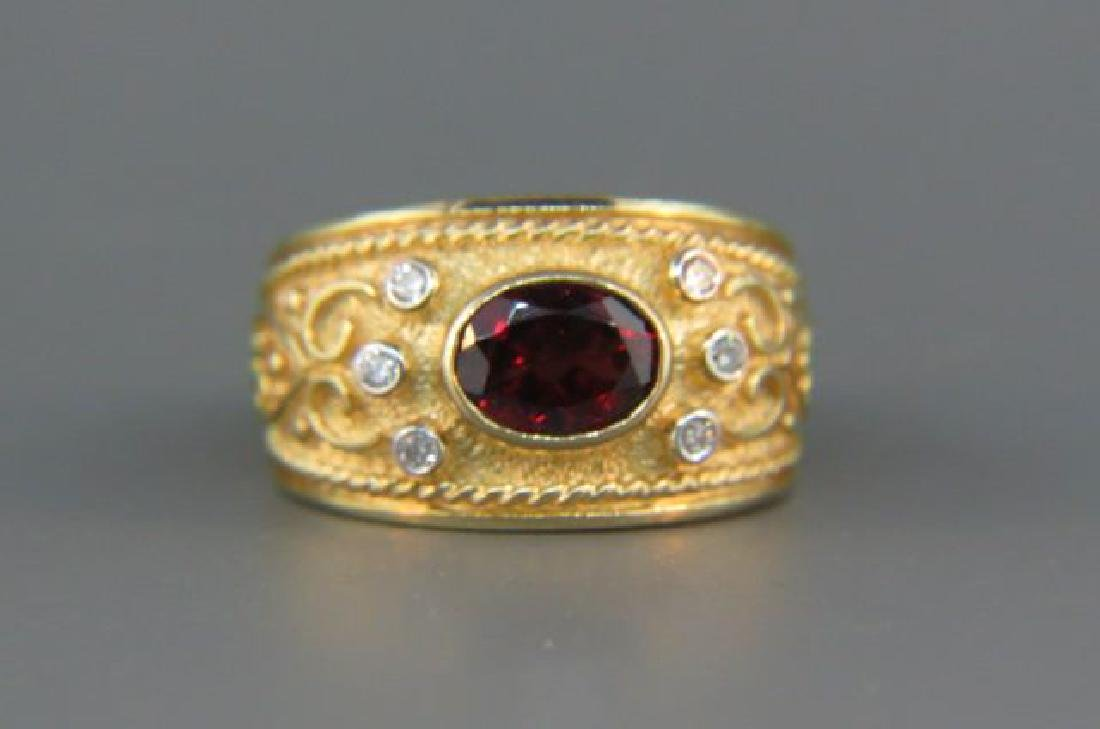 Garnet & Diamond Ring,