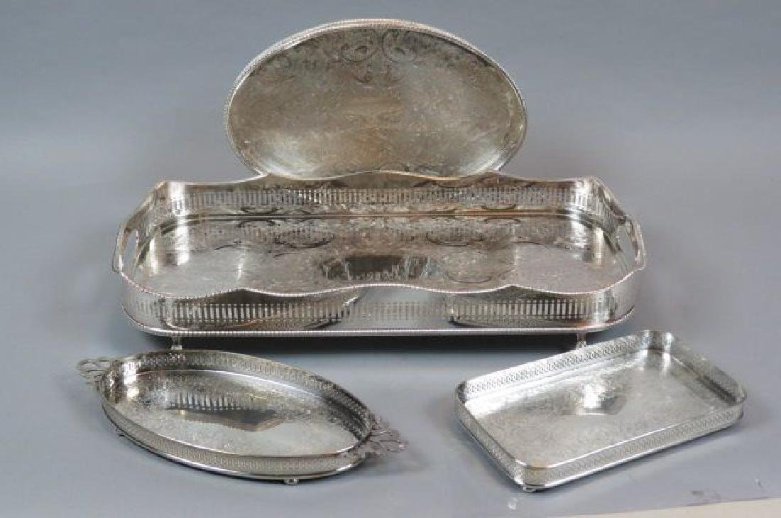 4 Silverplate Gallery Trays,