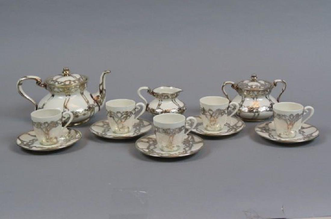 13 pc. Lenox Porcelain with Silver Overlay Tea Set