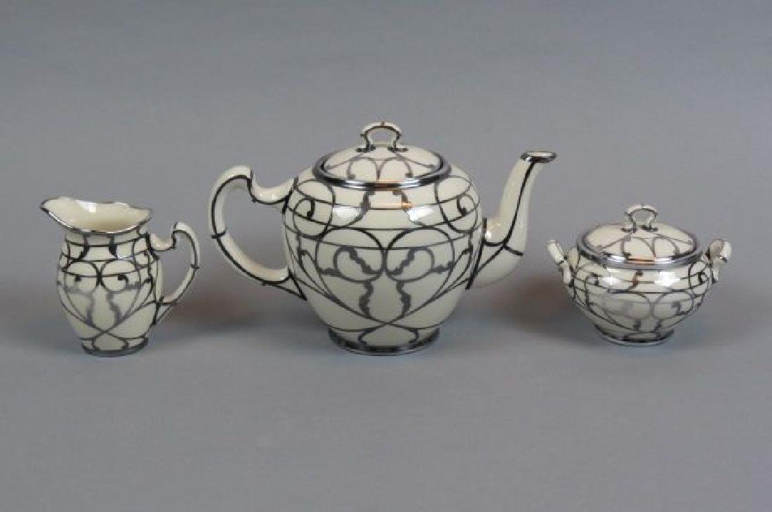 3 pc. Lenox Porcelain with Silver Overlay Tea Set,
