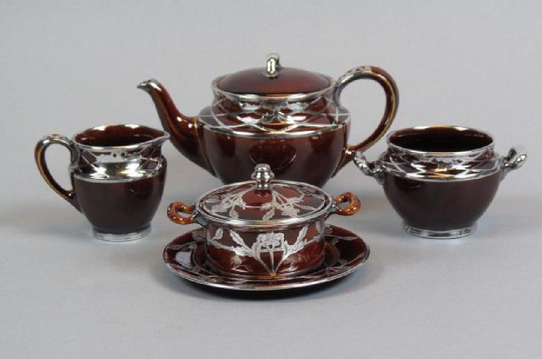 4 pcs. Lenox Porcelain with Silver Overlay,