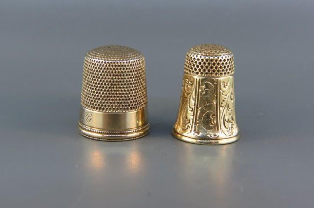 2 14K Gold Thimbles,
