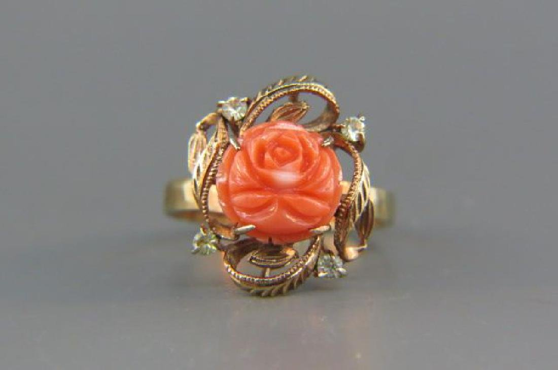 Carved Coral & Diamond Ring,