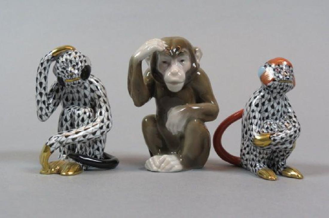 3 Porcelain Monkey Figurines By Herend & Other,