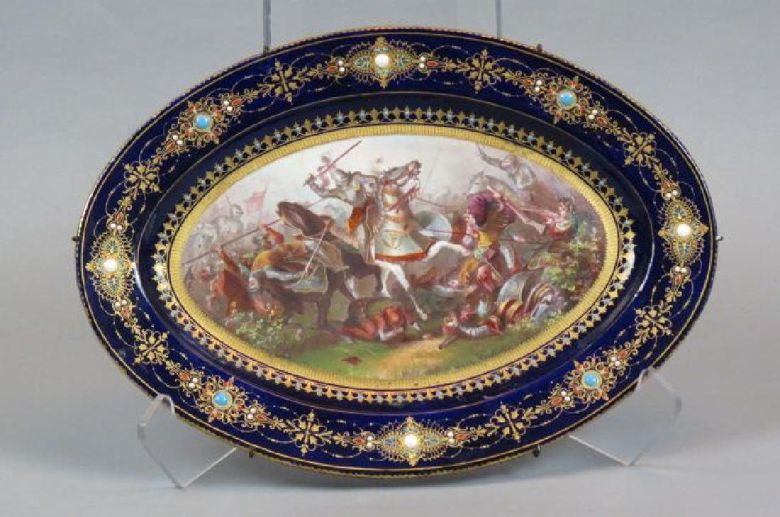 Early French Jeweled & Enameled Scenic Platter,