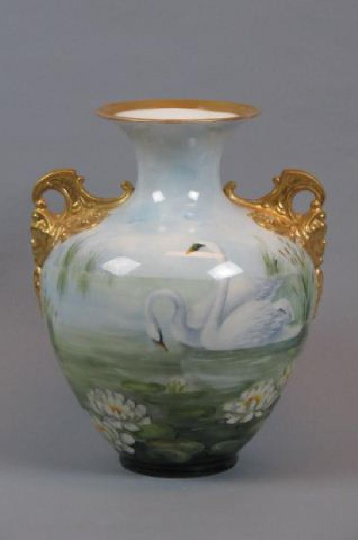 """Lenox Belleek Handpainted Porcelain """"Swans"""" Vase,"""