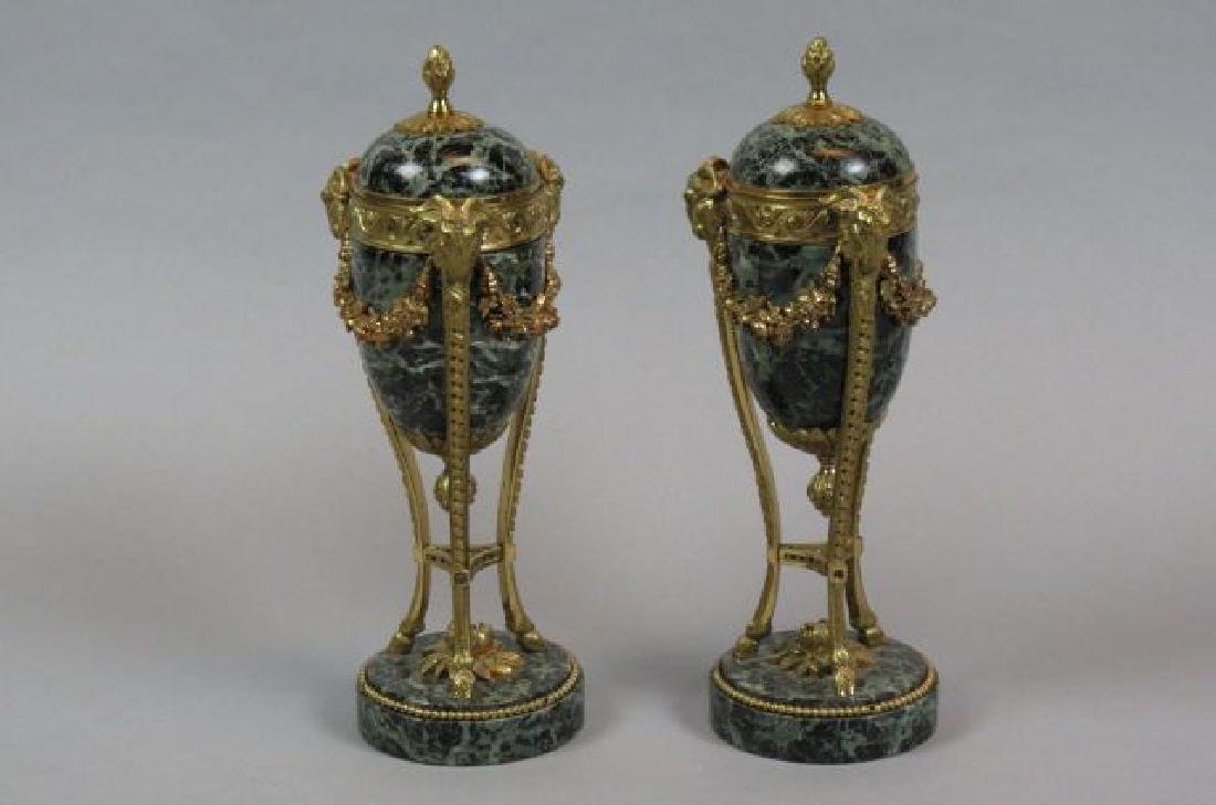 Pair of French Bronze & Marble Candlesticks,