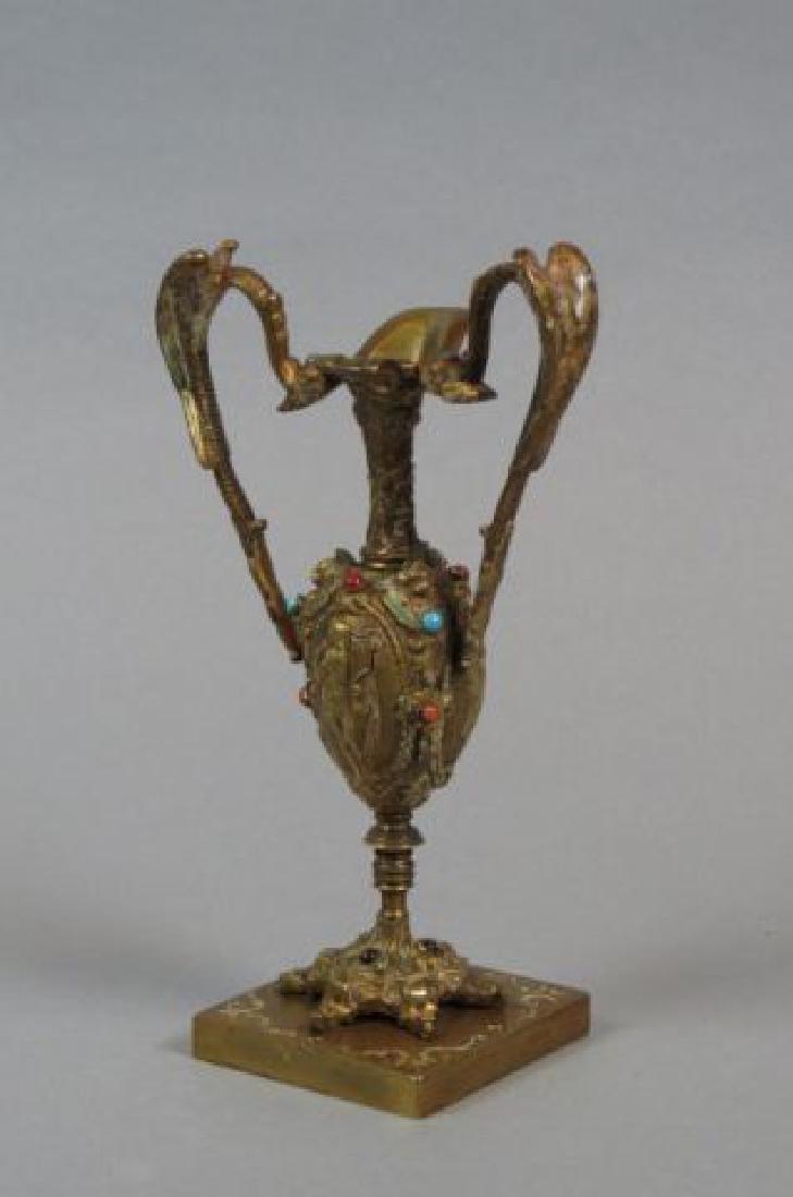 Austrian Bronze Enameled & Jeweled Ewer,