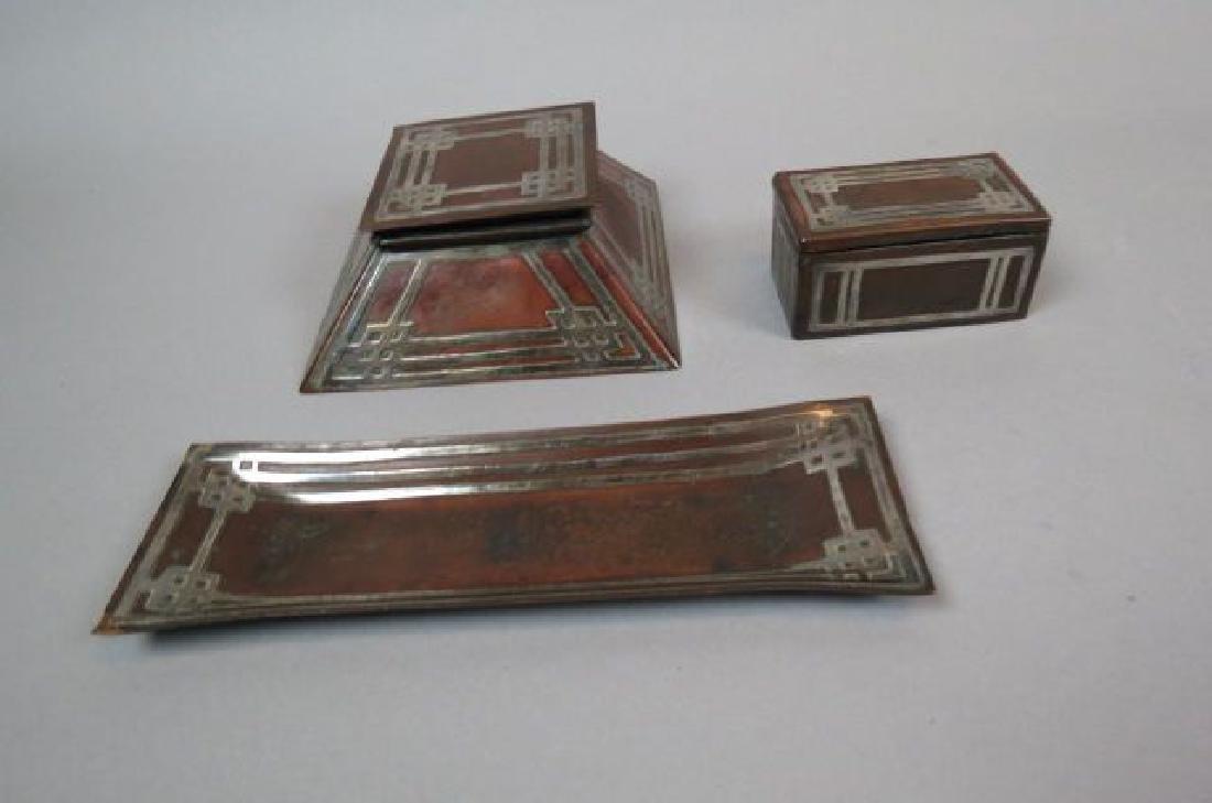 Arts & Crafts Sterling & Copper Desk Set,