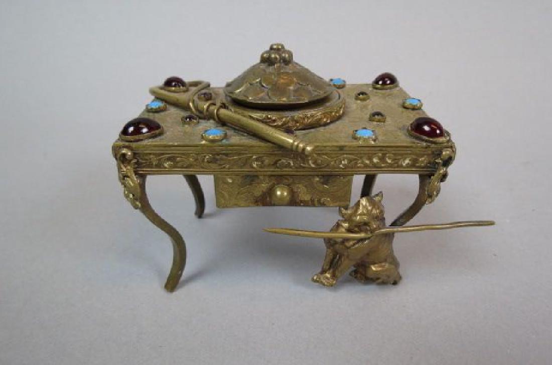Austrian Jeweled Figural Brass Inkwell,