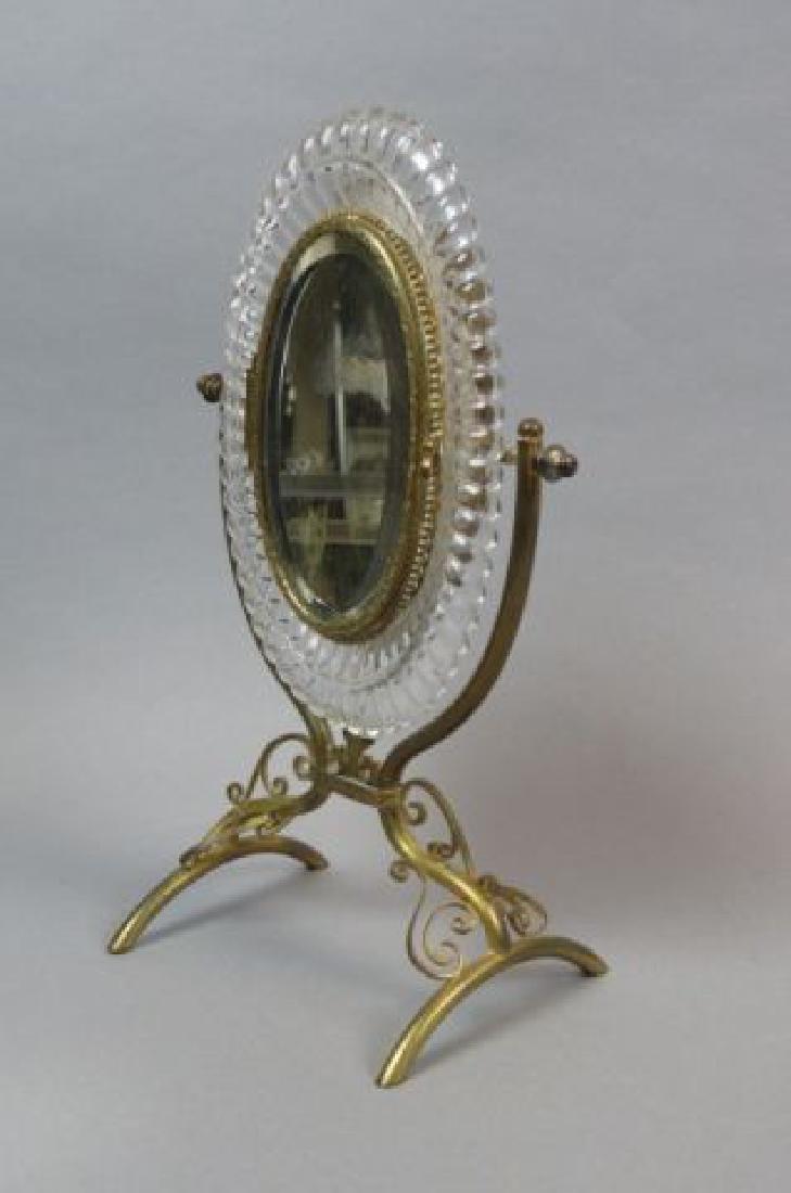 French Gilt Bronze Crystal Vanity Mirror,