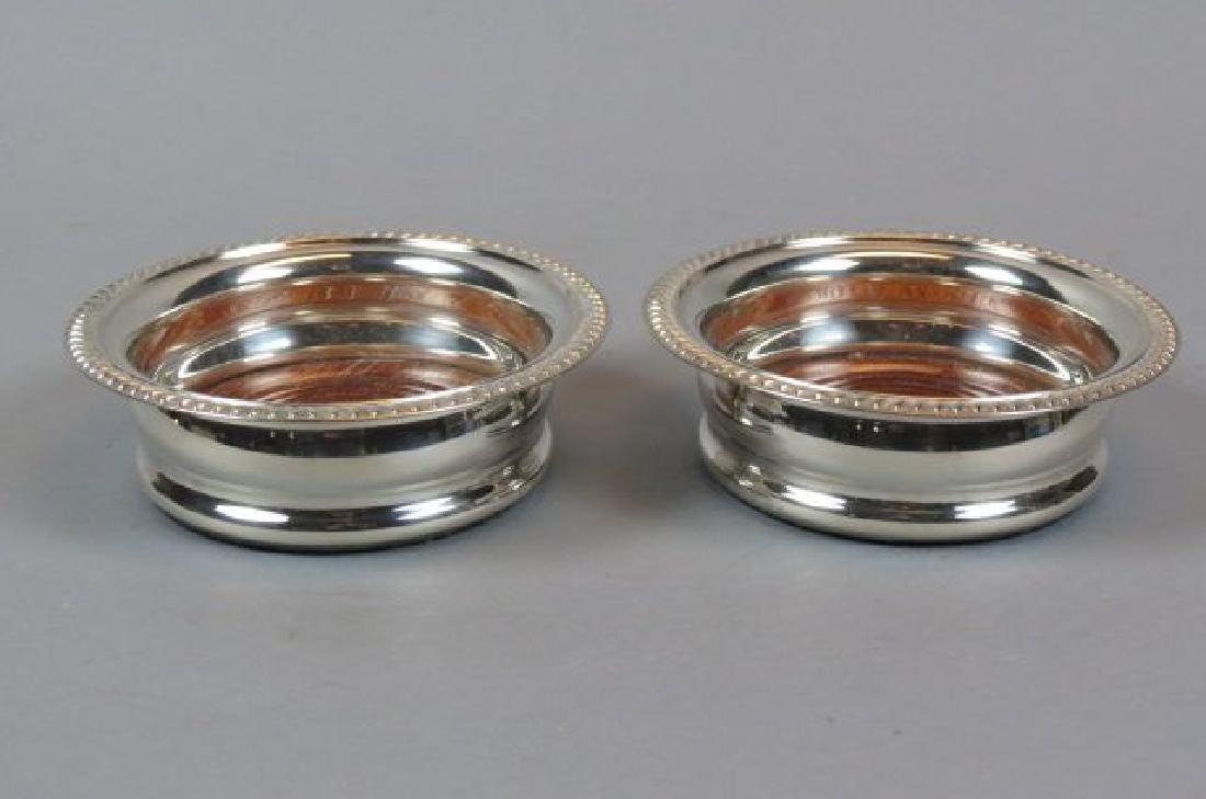 Pair of Silverplate Wine Coasters,