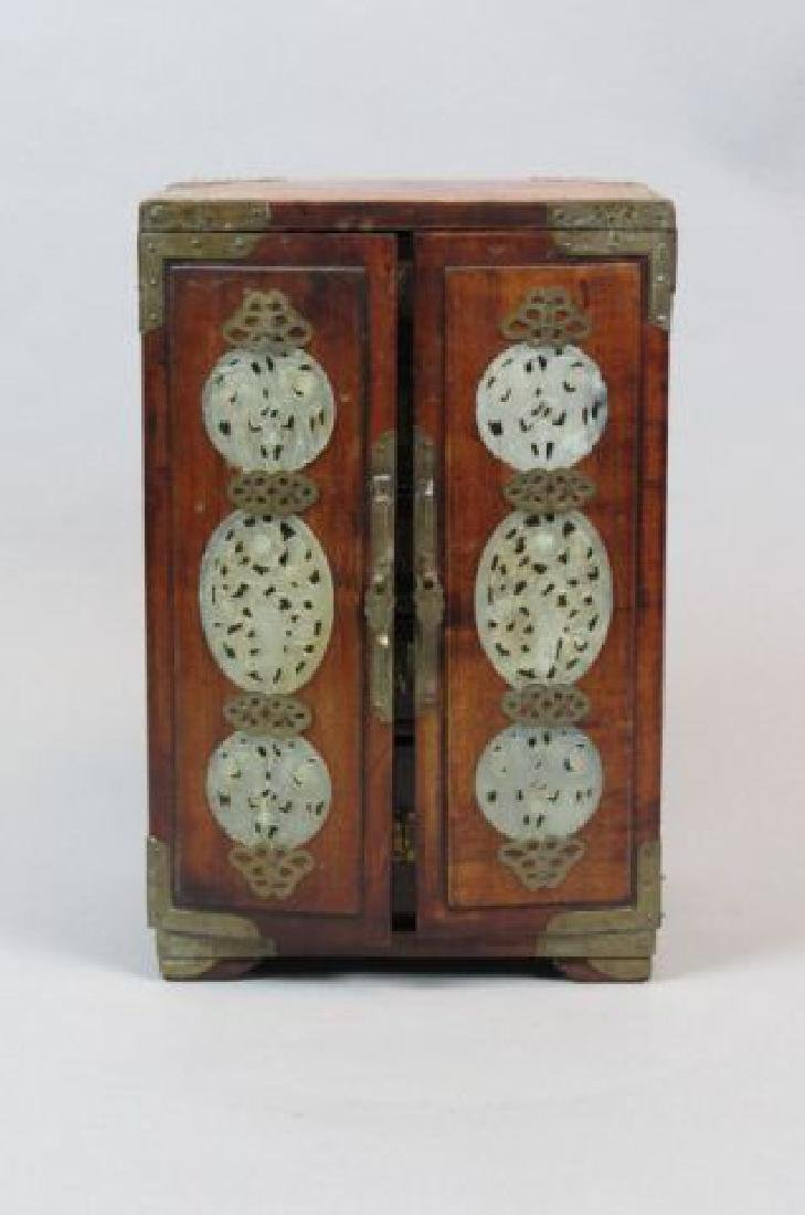 Chinese Carved Jade & Wooden Jewelry Chest,
