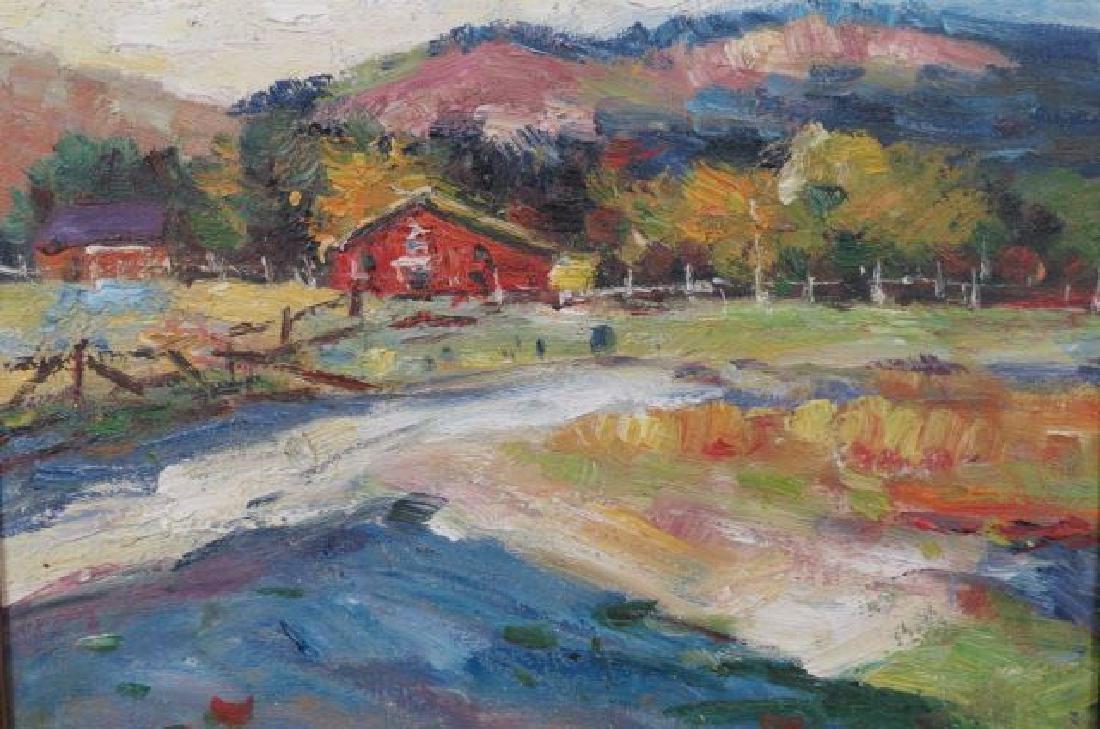 Impressionist Autumn Landscape of Farm,