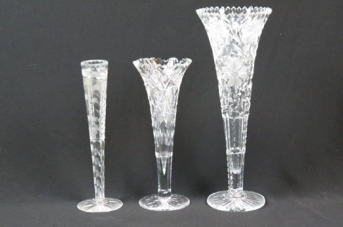 3 Cut Glass Vases,