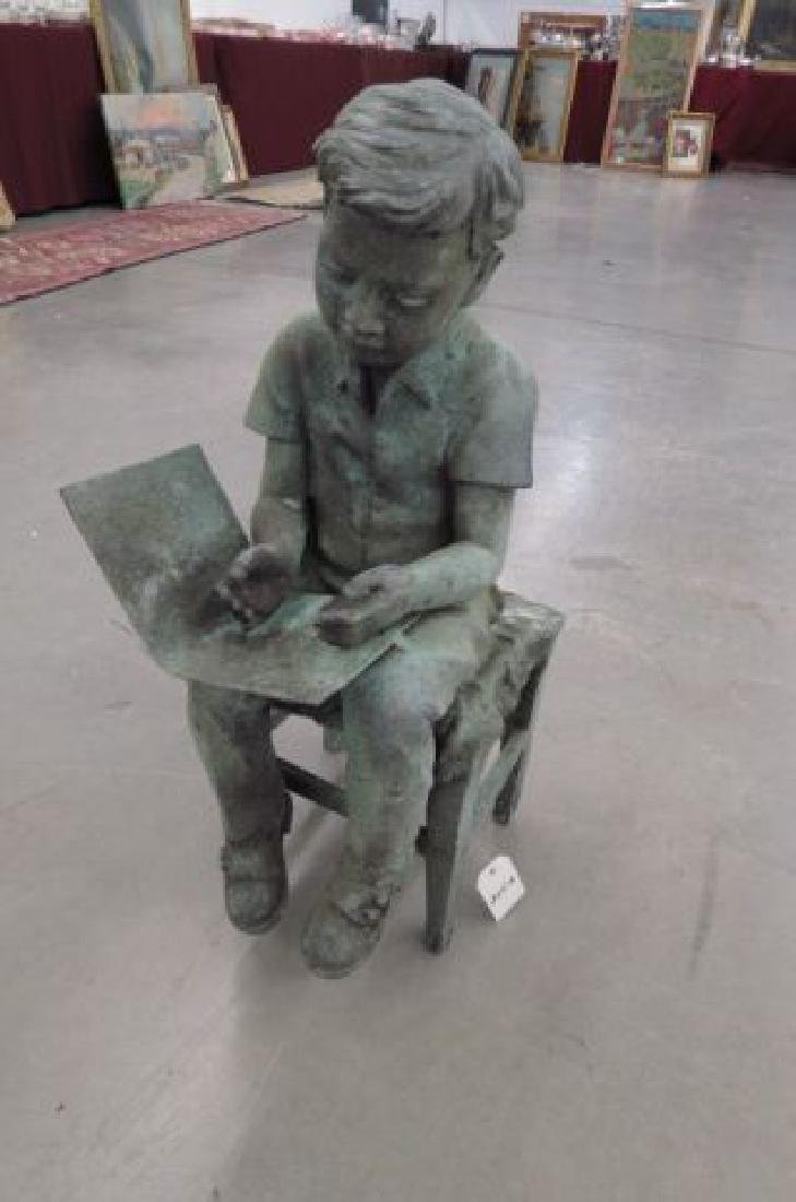 Bronze Garden Statue of a Boy Reading,