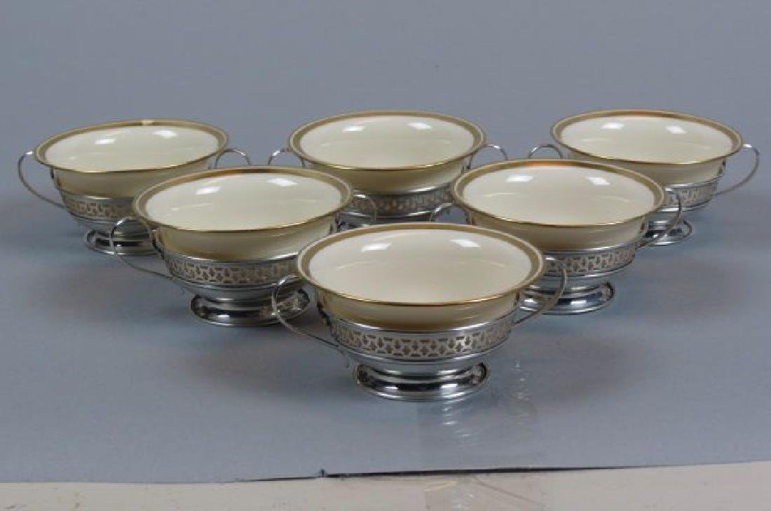 6 Sterling Silver & Lenox Cream Soups,