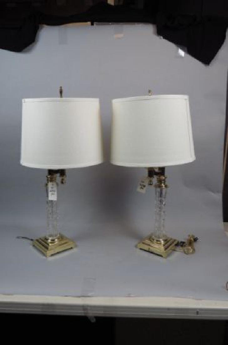 Pair of Waterford Cut Crystal Table Lamps,