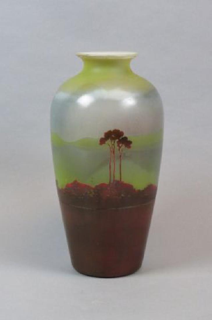 Muller Freres Cameo Art Glass Scenic Vase,