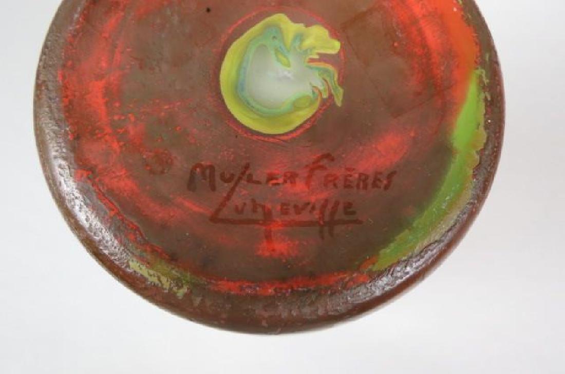 Muller Freres Cameo Art Glass Scenic Vase, - 4
