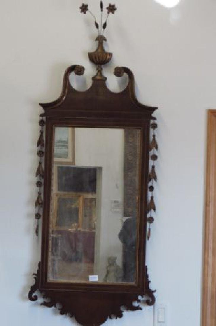 Mahogany Chippendale Style Mirror,