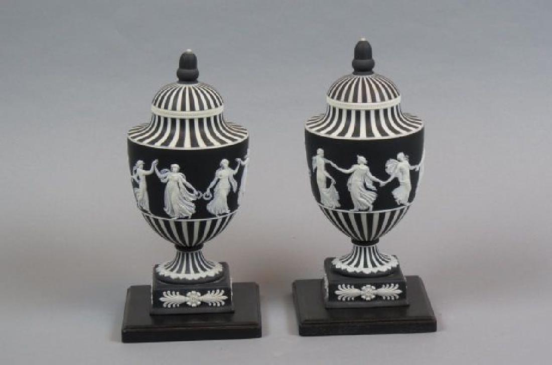 Pair of Wedgwood Black & White Jasperware Jars,