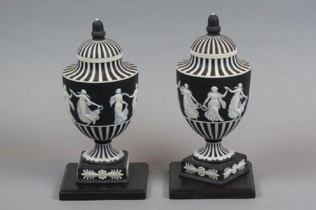 Pair of Wedgwood Black & White Jasperware Jars, - 2