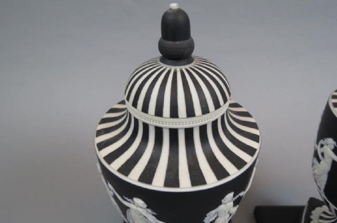 Pair of Wedgwood Black & White Jasperware Jars, - 3