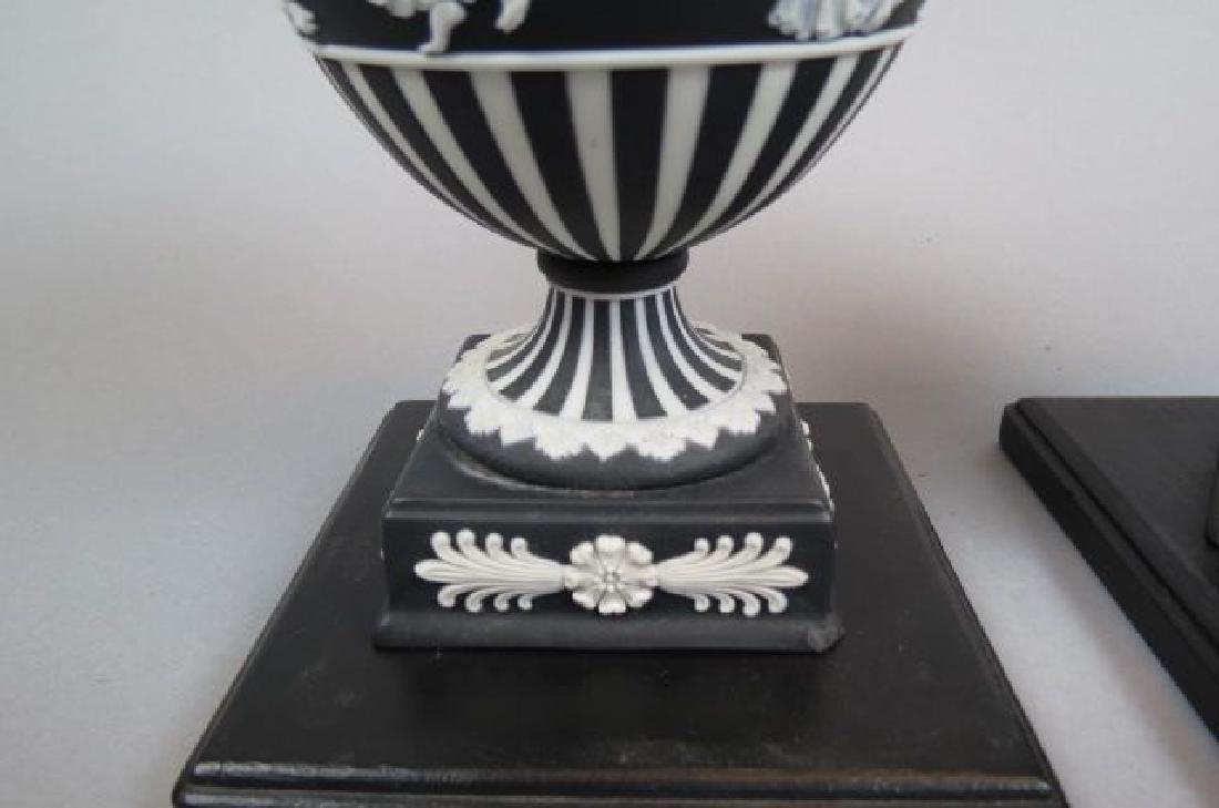 Pair of Wedgwood Black & White Jasperware Jars, - 4