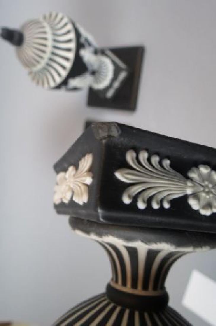 Pair of Wedgwood Black & White Jasperware Jars, - 6