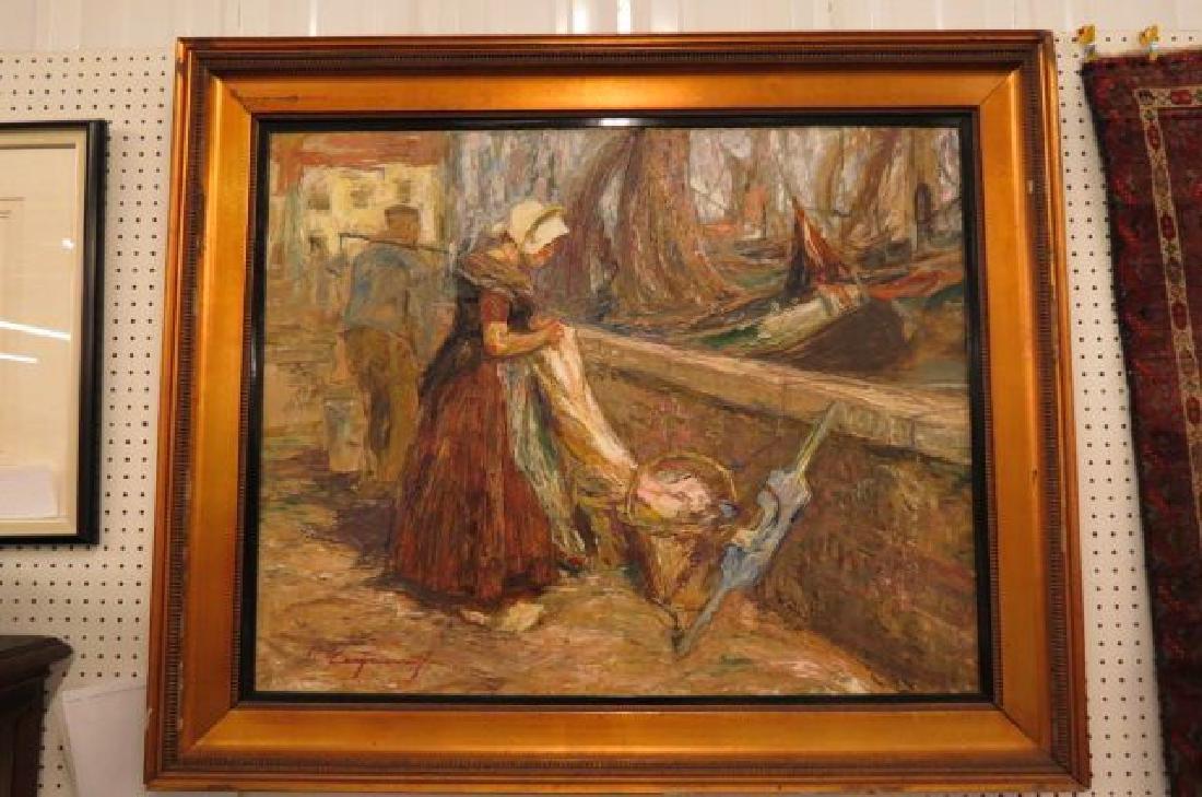 Fine European Oil Painting Dutch Peasants at Work,