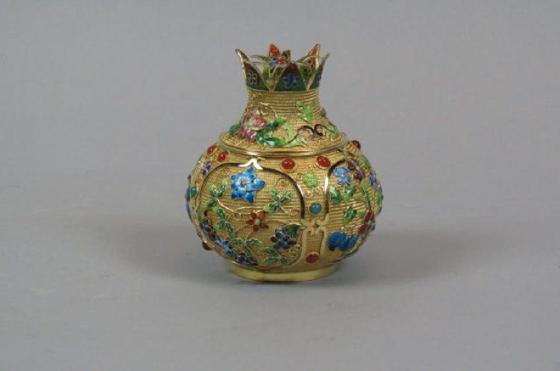 Chinese Enameled & Jeweled Silver Box,