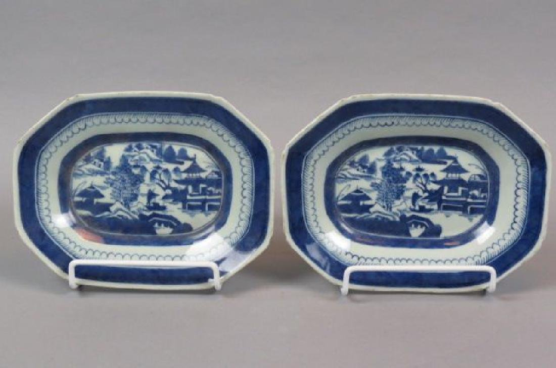 Pair of Chinese Export Canton Porcelain Platters,