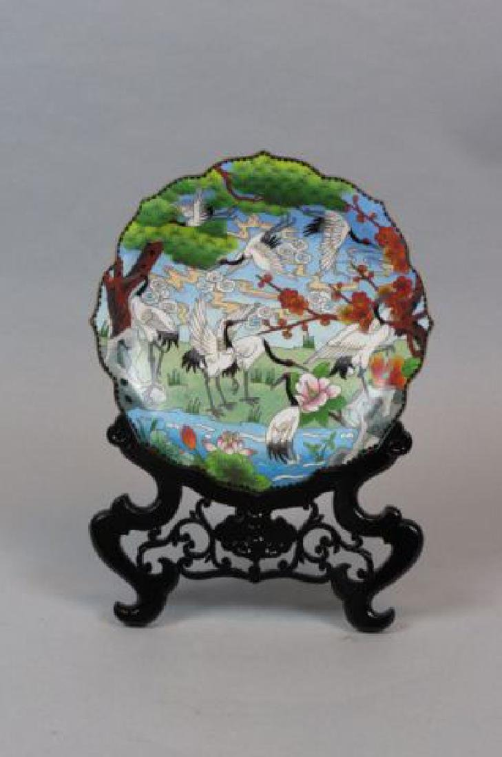 Chinese Cloisonne Plate on Stand,