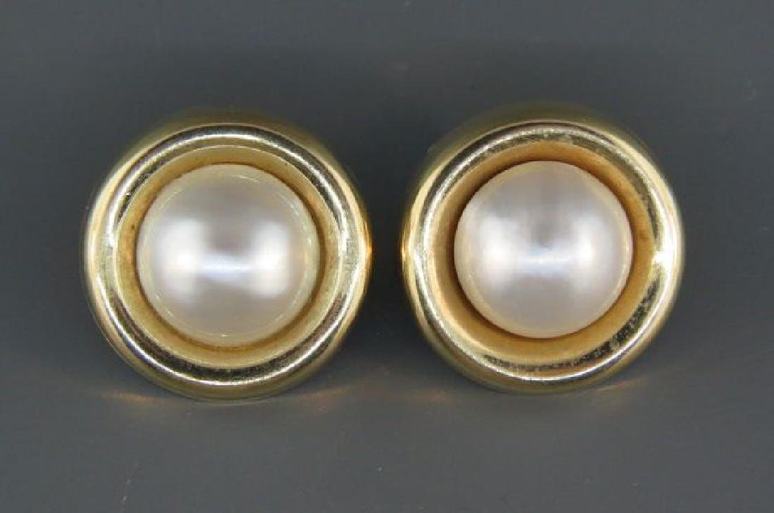 Mabe Pearl 14K Gold Earrings,