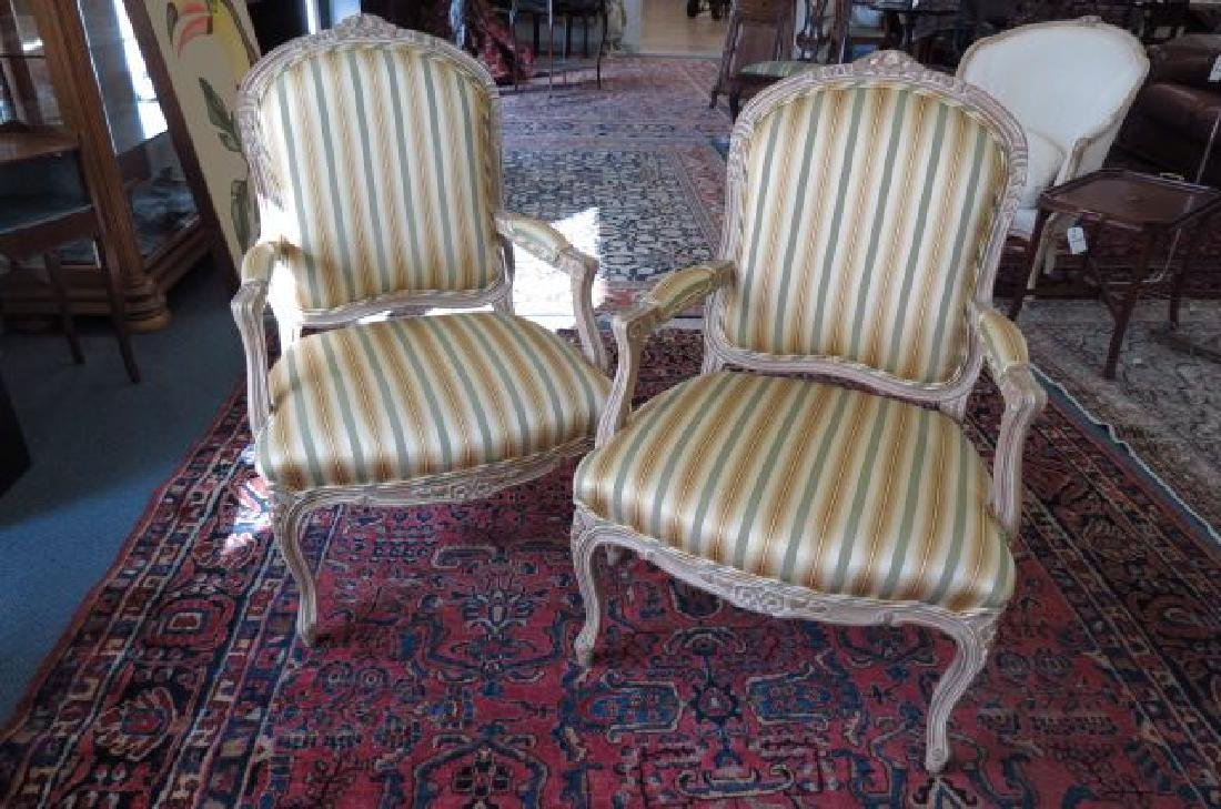 Pair of French Bergere Arm Chairs,