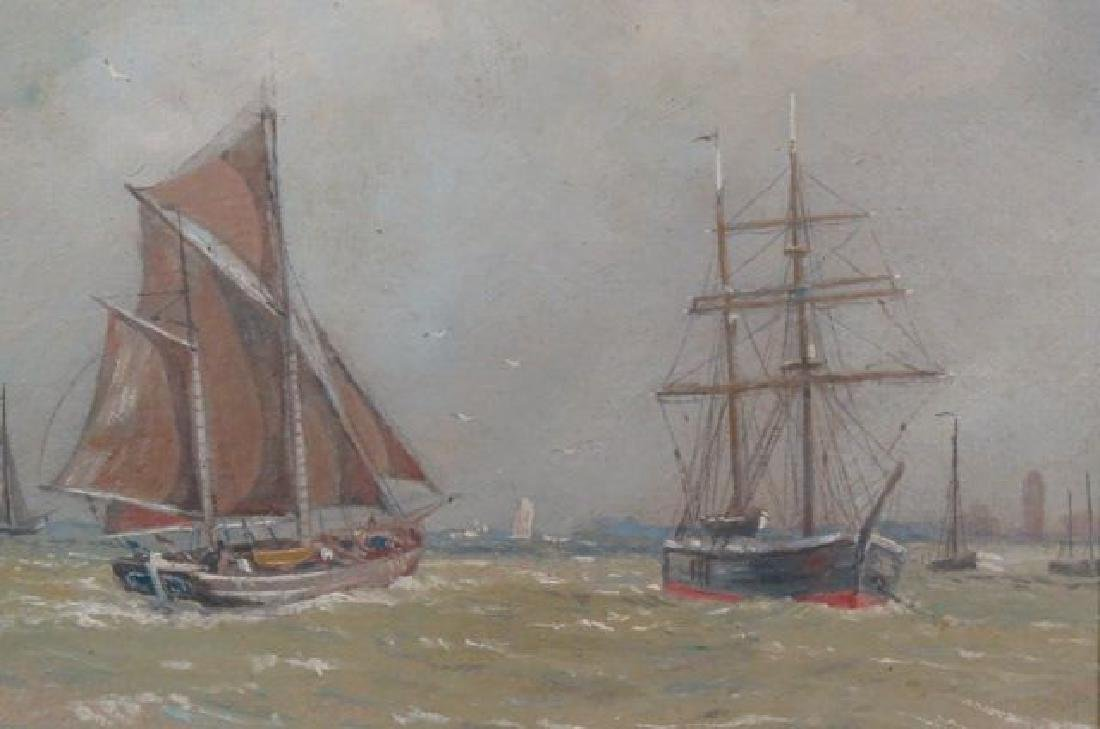 Nautical Oil Painting of Ships at Sea,