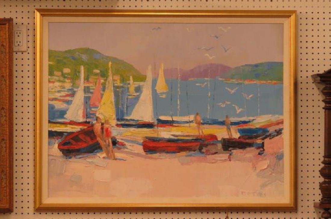 Italo Botti, oil, Impressionist Harbor Scene,