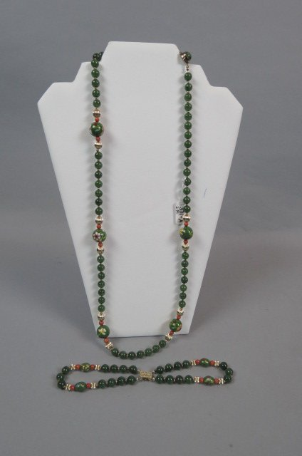 Chinese Jade, Coral & Gold Necklace & Bracelet,