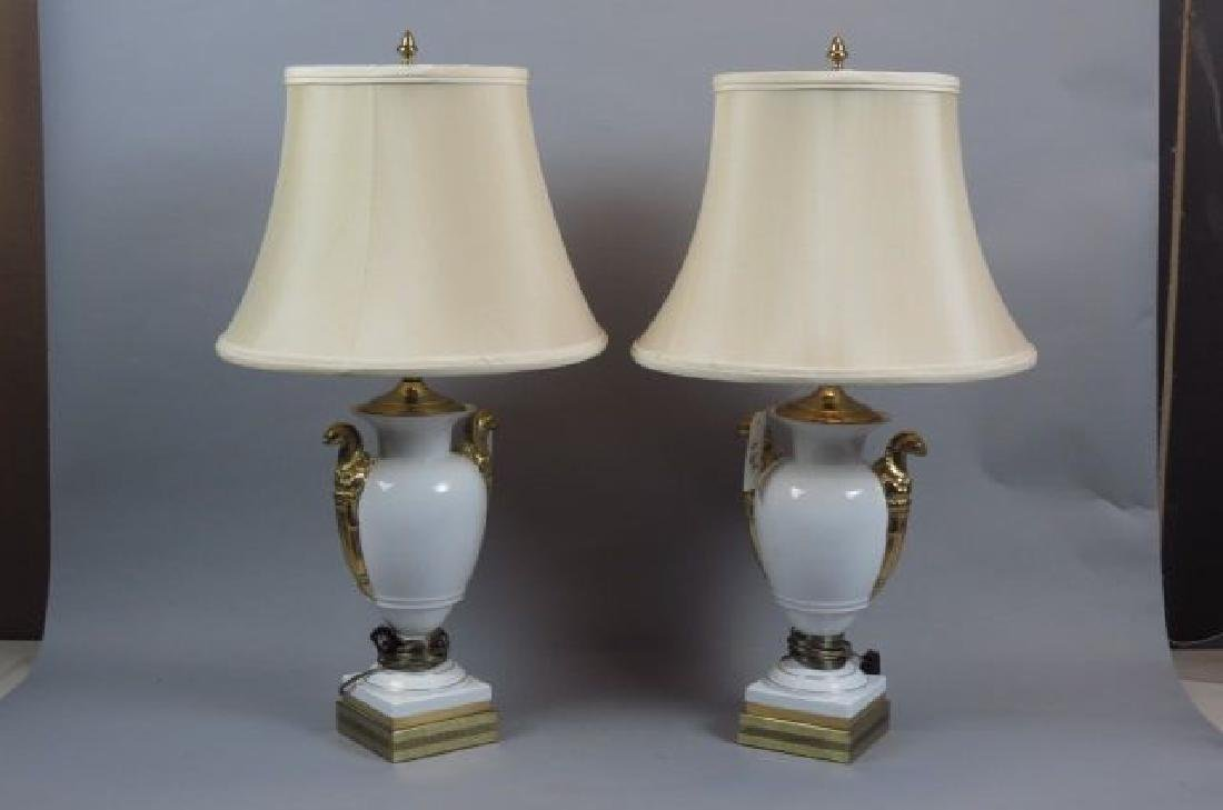Pair of Classical Porcelain Table Lamps,