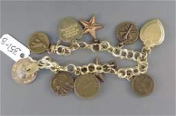 14k Gold World War II Sweetheart Charm Bracelet,