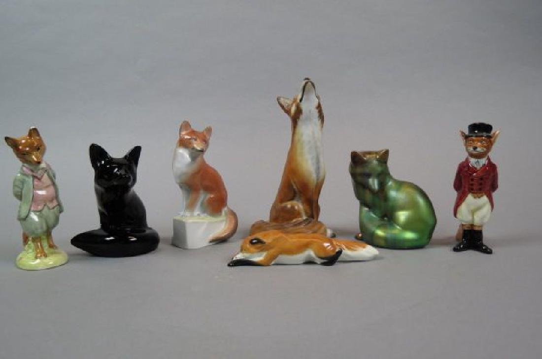 7 Fox Figurines including porcelain by Herend,