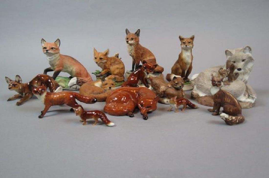 14 pc. Collection of Porcelain Fox Figurines,