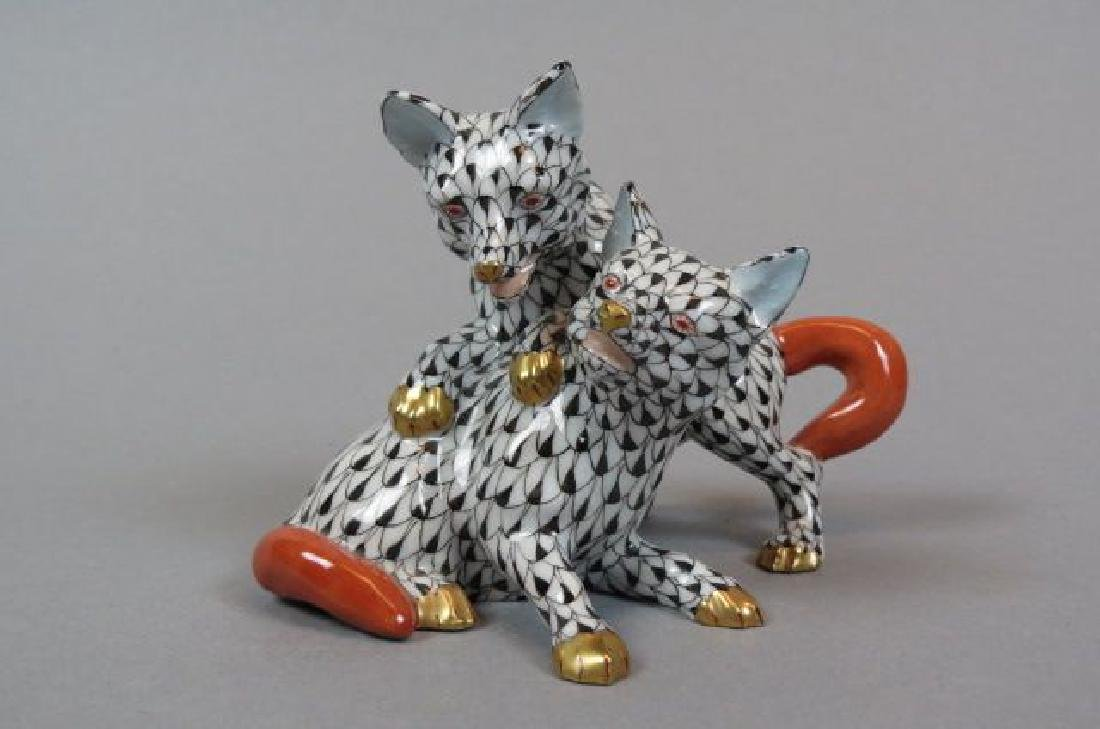 "Herend Porcelain ""Fishnet"" Figurine of Foxes,"