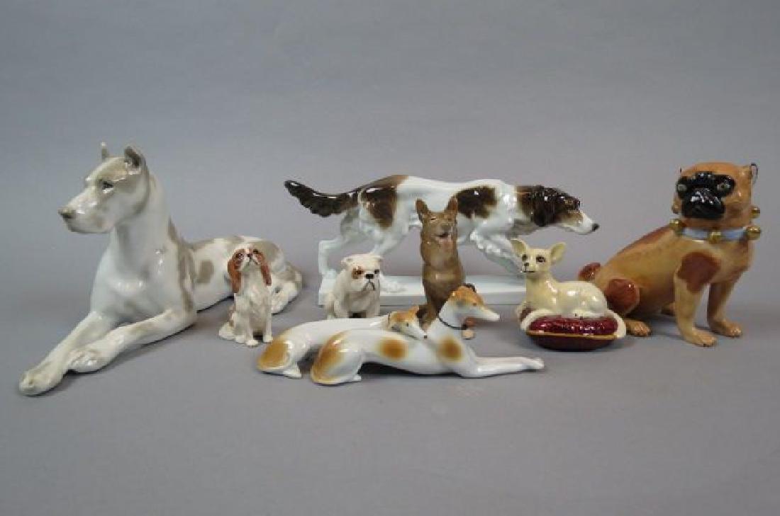 8 Porcelain Dog Figurines,