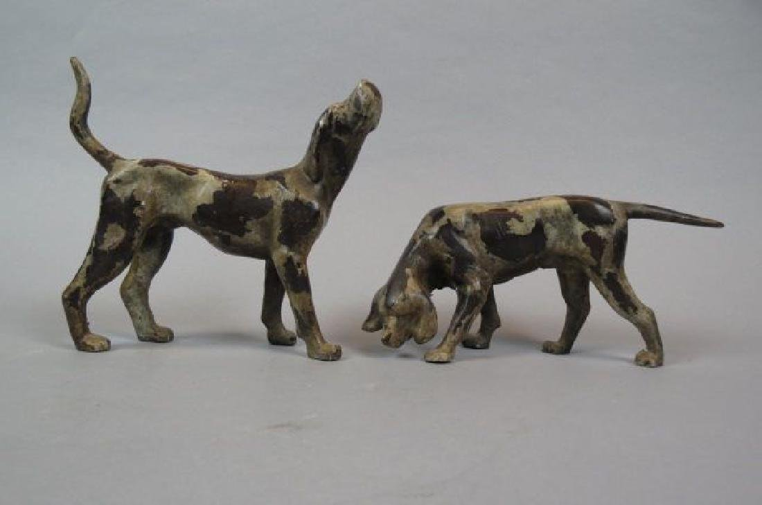 Pair of Figural Cast Iron Hound Doorstops by B & H