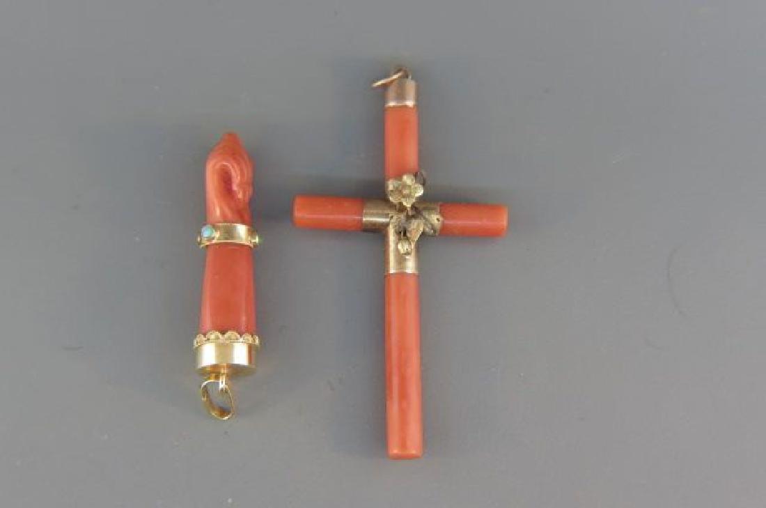 Coral & Gold Antique Cross & Pendant,