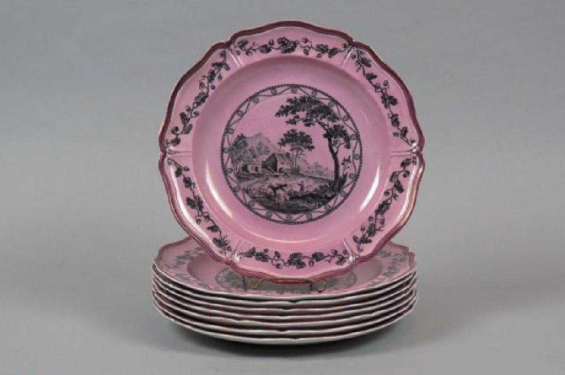 "8 Wedgwood Etruria ""Bewick"" Lustre Plates,"