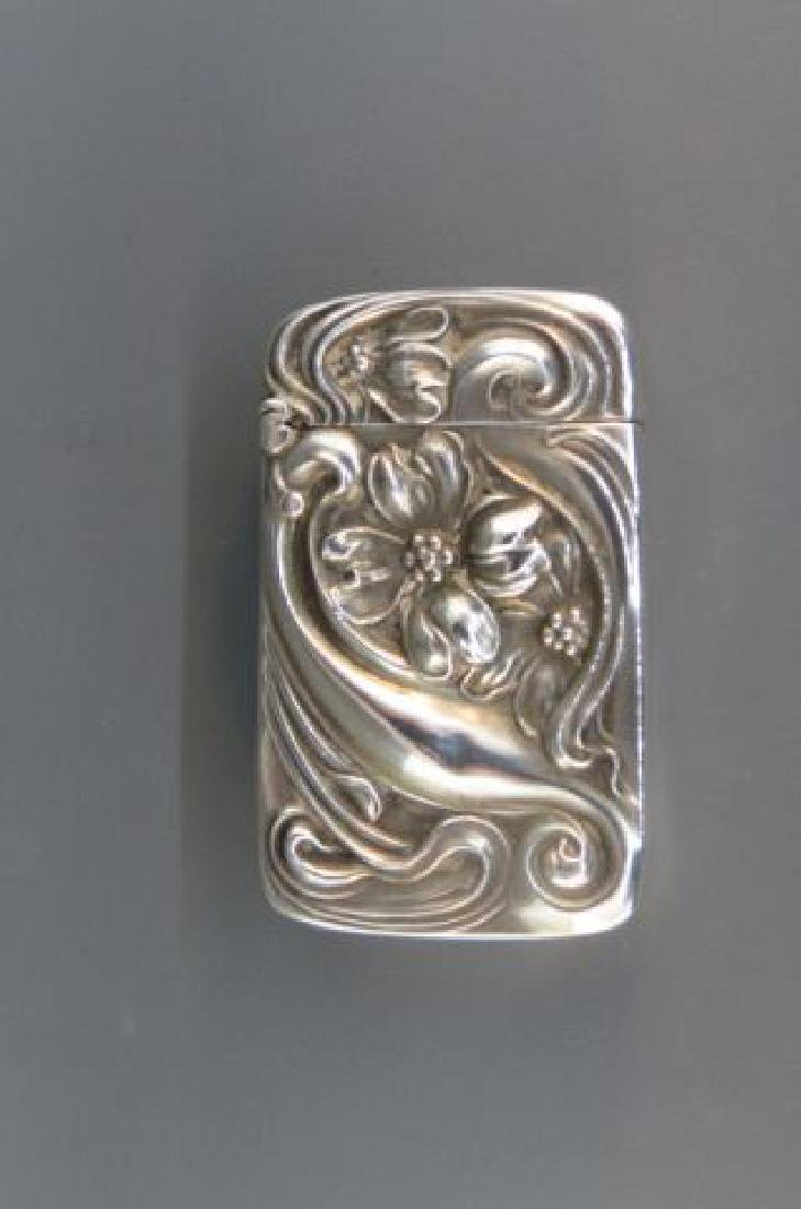 Art Nouveau Sterling Match Safe by Unger Brothers,
